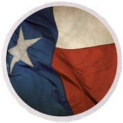 Rustic Texas Flag  Round Beach Towel