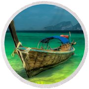 Thai Longboat Round Beach Towel
