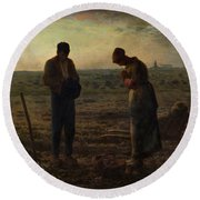 The Angelus Round Beach Towel by Jean Francois Millet
