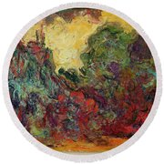 The Artists House From The Rose Garden, 1922-24 Oil On Canvas Round Beach Towel