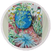 The Blue Flower Pot Round Beach Towel by Esther Newman-Cohen