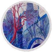 Round Beach Towel featuring the painting The Charles Bridge Blues by Marina Gnetetsky