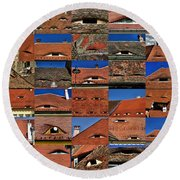 The City's Eyes Sibiu Hermannstadt Romania Round Beach Towel