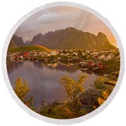 The Day Begins In Reine Round Beach Towel