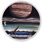 Round Beach Towel featuring the painting The Eternal Staring Contest by Ryan Demaree