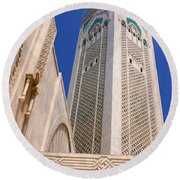 Round Beach Towel featuring the photograph The Hassan II Mosque Grand Mosque With The Worlds Tallest 210m Minaret Sour Jdid Casablanca Morocco by Ralph A  Ledergerber-Photography