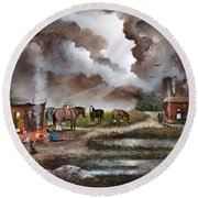 Round Beach Towel featuring the painting The Horse Traders by Ken Wood