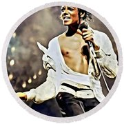 The King Of Pop Round Beach Towel by Florian Rodarte