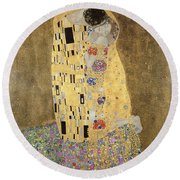 Round Beach Towel featuring the painting The Kiss by Celestial Images