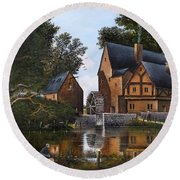 Round Beach Towel featuring the painting The Old Mill by Ken Wood