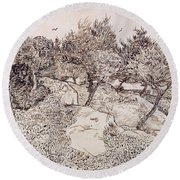 The Olive Trees Round Beach Towel by Vincent Van Gogh