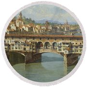 Round Beach Towel featuring the painting The Ponte Vecchio Florence by Celestial Images