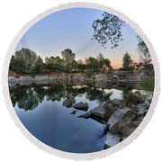 Round Beach Towel featuring the photograph The Quinn Quarry by Jim Thompson