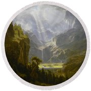 Round Beach Towel featuring the painting The Rocky Mountains Lander's Peak by Celestial Images