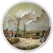 Round Beach Towel featuring the painting The Smithy by Ken Wood