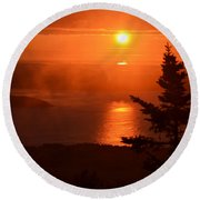 The Sunrise From Cadillac Mountain In Acadia National Park Round Beach Towel