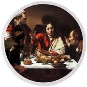 The Supper At Emmaus  Round Beach Towel by Celestial Images