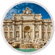 The Trevi Fountain - Rome Round Beach Towel by Luciano Mortula