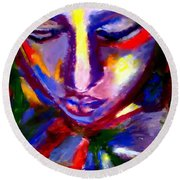 Round Beach Towel featuring the painting The Universe And Me by Helena Wierzbicki