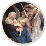 The Virgin With Angels Round Beach Towel by William Bouguereau