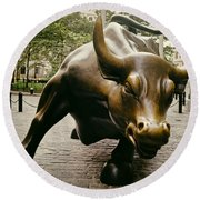 The Wall Street Bull Round Beach Towel by Mountain Dreams