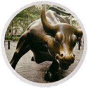 The Wall Street Bull Round Beach Towel