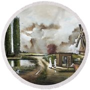 Round Beach Towel featuring the painting The Windmill by Ken Wood