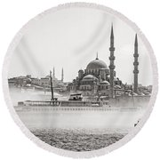 The Yeni Mosque In Fog Round Beach Towel