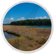 Thompson Island In Maine Panorama Round Beach Towel by Michael Ver Sprill