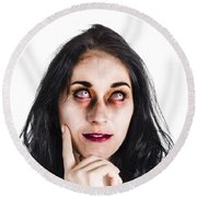 Thoughtful Zombie Round Beach Towel