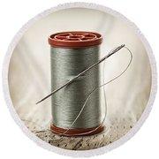 Thread And Needle Round Beach Towel