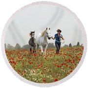 Three At The Poppies' Field... 3 Round Beach Towel
