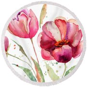Three Tulips Flowers  Round Beach Towel
