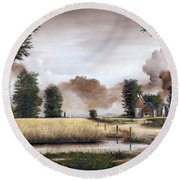 Through The Cornfield Round Beach Towel