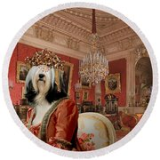 Tibetan Terrier Art Canvas Print Round Beach Towel