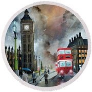 Round Beach Towel featuring the painting To Peckham Rye by Ken Wood