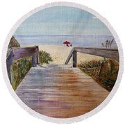 To The Beach Round Beach Towel by Marilyn  McNish