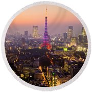 Tokyo Tower - Tokyo - Japan Round Beach Towel by Luciano Mortula