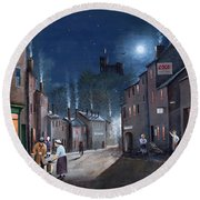 Round Beach Towel featuring the painting Tower Street Dudley C1930s by Ken Wood