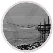 Trabocco On The Coast Of Italy  Round Beach Towel