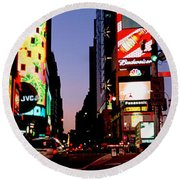 Traffic On A Road, Times Square, New Round Beach Towel