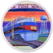 Trains Of Pine Mountain Round Beach Towel