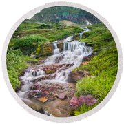 Triple Falls Stream Glacier National Park Round Beach Towel
