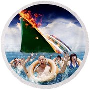 Trouble In Paradise Round Beach Towel