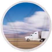 Truck On The Road, Interstate 70, Green Round Beach Towel