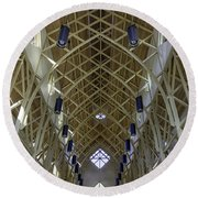 Trussed Arches Of Uf Chapel Round Beach Towel by Lynn Palmer