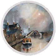 Round Beach Towel featuring the painting Twilight Departure by Ken Wood