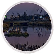 River At Dusk. Round Beach Towel
