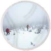 Two Men Hiking In The Snow On Mt Round Beach Towel