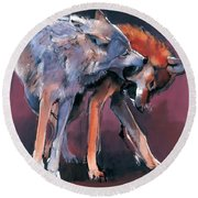 Two Wolves Round Beach Towel by Mark Adlington